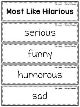 Wonders Vocabulary: Fourth Grade Unit 5, Week 3