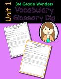 Wonders Vocabulary Glossary Dig - Unit 1 (3rd Grade)