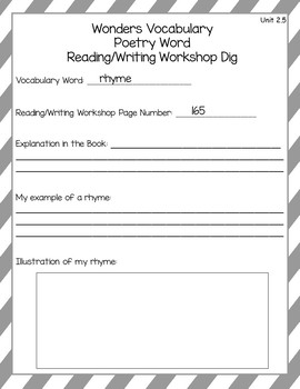 Wonders Vocabulary Glossary Dig - Unit 2.5 FREEBIE (3rd Grade)