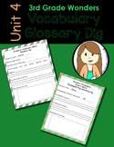 Wonders Vocabulary Glossary Dig - Unit 4 (3rd Grade)