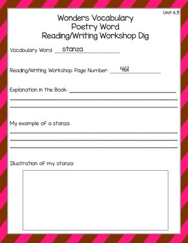 Wonders Vocabulary Glossary Dig - Unit 6 (3rd Grade)