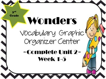 Wonders Vocabulary  Graphic Organizer Center Complete~ Unit 2 1-5