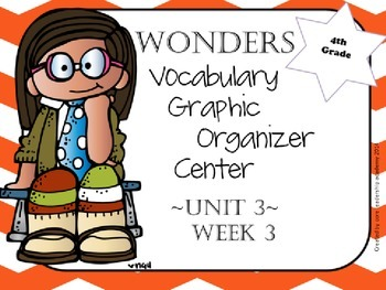 Wonders Vocabulary  Graphic Organizer Center Complete~ Unit 3 1-5