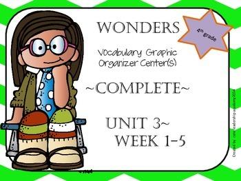 Wonders Vocabulary  Graphic Organizer Center Complete~ Unit 3 1-5