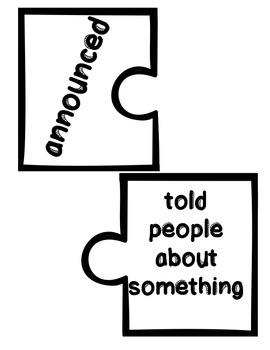 Wonders Vocabulary ~ Puzzle Words~Unit 2 Week 3
