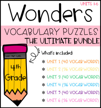 Wonders Vocabulary Puzzles BUNDLE: Units 1-6