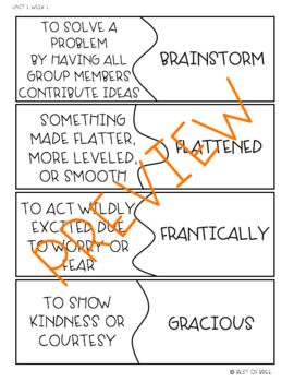 Wonders Vocabulary Puzzles: Unit 1