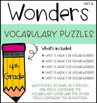 Wonders Vocabulary Puzzles: Unit 3