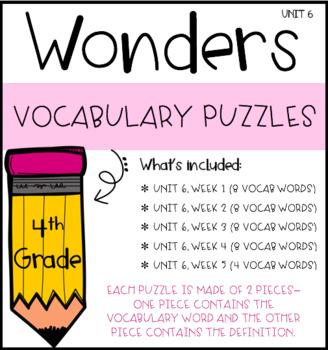 Wonders Vocabulary Puzzles: Unit 6