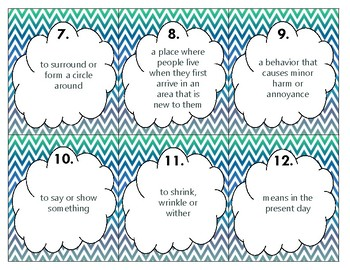 Wonders U5 Vocabulary SCOOT (4th)
