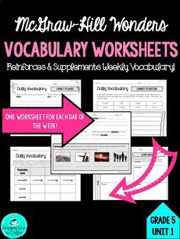 Wonders Vocabulary Supplements - GRADE 5, UNIT 1