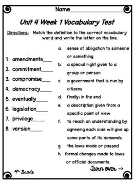 Wonders Vocabulary Tests 4th Grade Unit 4 Weeks 1-5