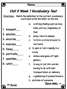 Wonders Vocabulary Tests 4th Grade Unit 5 Weeks 1-5