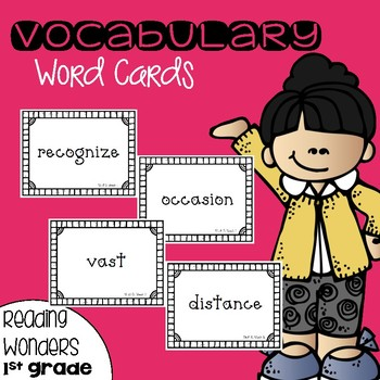 Vocabulary Word Cards for Reading Wonders 1st grade {Units 1-6}