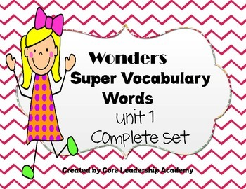 Wonders Vocabulary Word Cards Unit 1 Complete Set