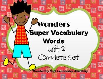 Wonders  Super Vocabulary Word Cards Unit 2 Complete Set