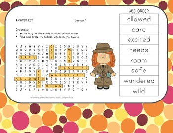 Wonders Aligned - Word Search and ABC Order - Lesson 4