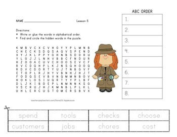 Wonders Aligned - Word Search and ABC Order - Unit 1