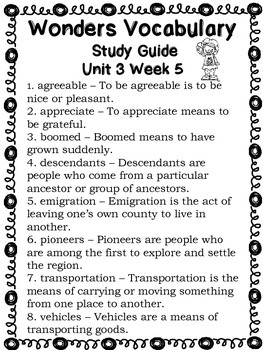Wonders Vocabulary Words Study Guide Unit 3 Week 1-5