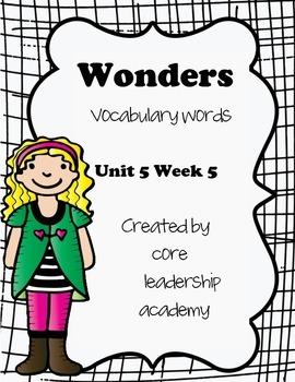 Wonders Vocabulary Words~ Unit 5 Week 5