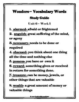 Wonders Vocabulary Study Guide ~ Unit 6 Week 1