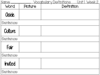 Wonders Vocabulary Worksheet
