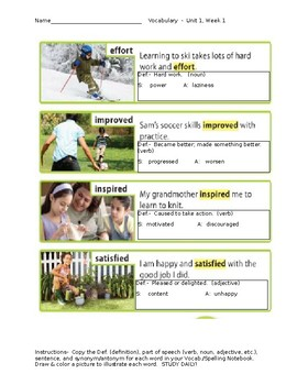 Wonders Vocabulary for Unit 1, Week 1