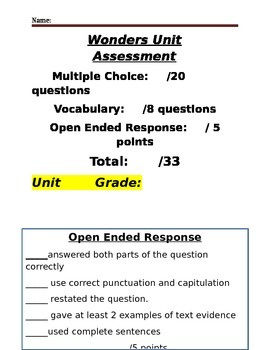 Wonders Weekly Assessment/ Open Ended Grading Sheets