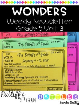 Wonders Weekly Newsletter Grade 5 Unit 3