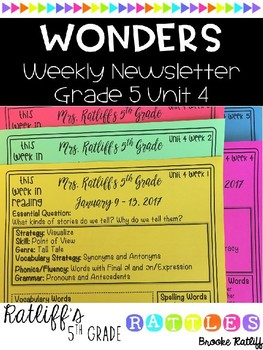 Wonders Weekly Newsletter Grade 5 Unit 4