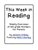 Wonders Weekly Overview 5th Grade