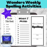 Wonders Weekly Spelling Activities, Unit 2-5th Grade