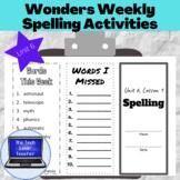 Wonders Weekly Spelling Activities, Unit 6-5th Grade