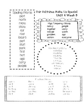 Word Lists for Second Grade Reading Wonders Series Unit 4