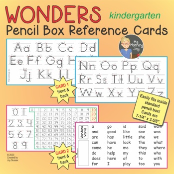 Wonders Words Pencil Box Cards, Letters & Numbers for K