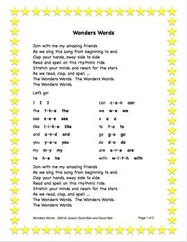 Wonders Words Song