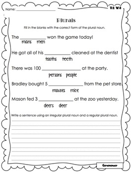 Wonders Writing and Grammar 1st Grade Unit 2 Week 5