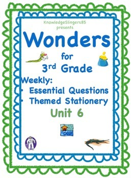 Wonders for 3rd Grade: Unit 6, Essential Questions on Themed Paper