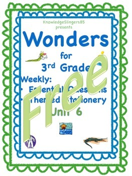 Free Wonders for 3rd Grade: Unit 6 Essential Questions on