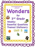 Wonders for 3rd Grade: Unit 5, Essential Questions on Themed Paper
