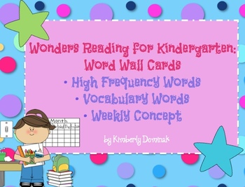 Wonders For Kindergarten Word Cards For High Frequency