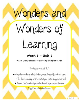 Wonders of Learning - Unit 1, Week 1 Reading Comp Skills - 1st Grade