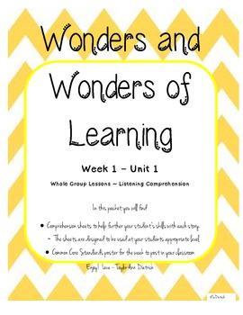 Wonders of Learning - Unit 1, Week 1 Reading Comp Skills - 1st Grade