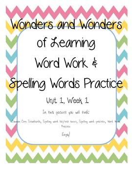 Wonders of Learning - Unit 1, Week 1 - Spelling and Word Work - 1st Grade
