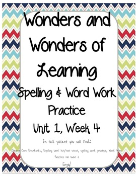 Wonders of Learning - Unit 1, Week 4 - Spelling and Word Work- 1st Grade