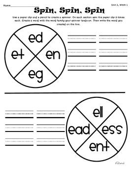Wonders of Learning - Unit 2, Week 1 - Spelling and Word Work - 1st Grade