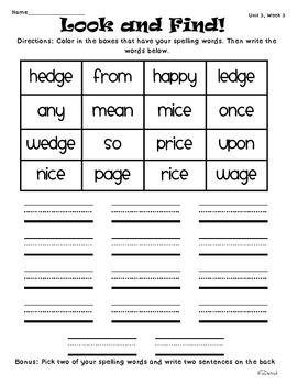 Wonders of Learning - Unit 3, Week 3 - Spelling and Word Work