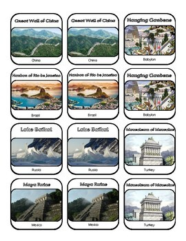 Wonders of the World Matching Game