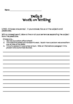 Wonders reading and grammar aligned Daily 5 Work on Writing 4th Grade