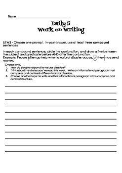 Wonders grammar aligned Daily 5 Work on Writing 4th Grade